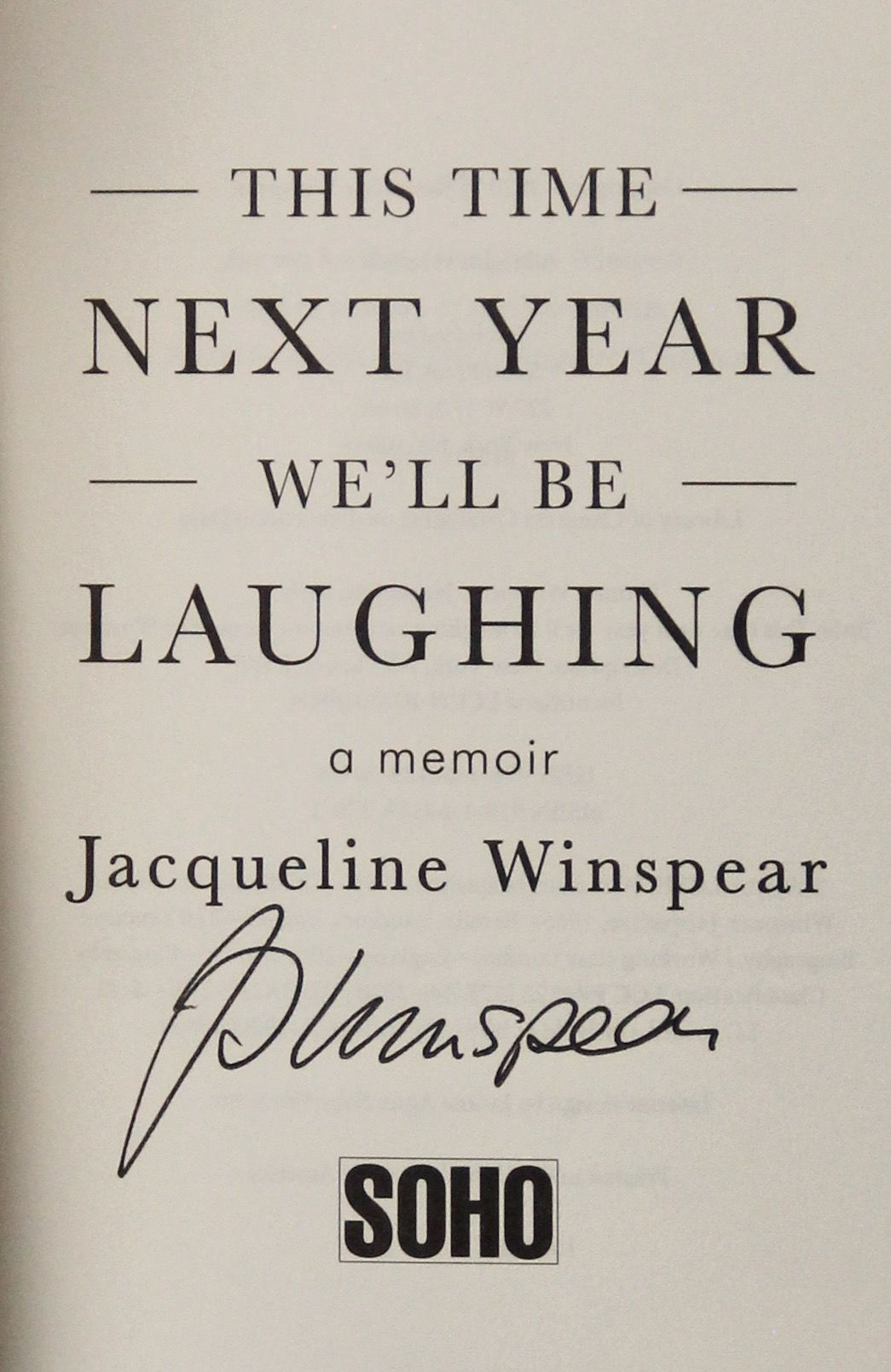 Image for This Time Next Year We'll Be Laughing (Signed on Title Page)